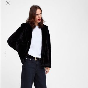 Zara Faux Fur Bomber hoodie